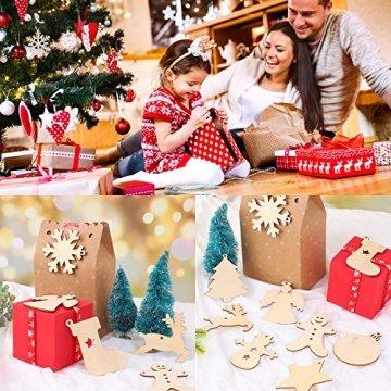 Herefun Holz Christbaumschmuck, 72 Stück Weihnachtsanhänger Holz, Weihnachts Holz-Anhänger Weihnachtsanhänger Deko, Weihnachtlicher Baumschmuck, Weihnachtsbaum Deko, Weihnachtsdeko zum Aufhängen - 4