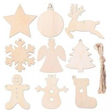 Herefun Holz Christbaumschmuck, 72 Stück Weihnachtsanhänger Holz, Weihnachts Holz-Anhänger Weihnachtsanhänger Deko, Weihnachtlicher Baumschmuck, Weihnachtsbaum Deko, Weihnachtsdeko zum Aufhängen - 1