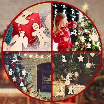 Herefun Holz Christbaumschmuck, 72 Stück Weihnachtsanhänger Holz, Weihnachts Holz-Anhänger Weihnachtsanhänger Deko, Weihnachtlicher Baumschmuck, Weihnachtsbaum Deko, Weihnachtsdeko zum Aufhängen - 7