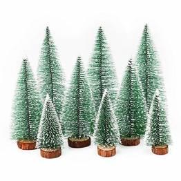Herefun Mini Weihnachtsbaum Künstlicher, 9 Stück Mini Tannenbaum Künstlich mit Schnee-Effek, Weihnachtsdeko Weihnachten Tischdeko DIY Grün Klein Mini Christbaum 10/15 /20 cm - 1