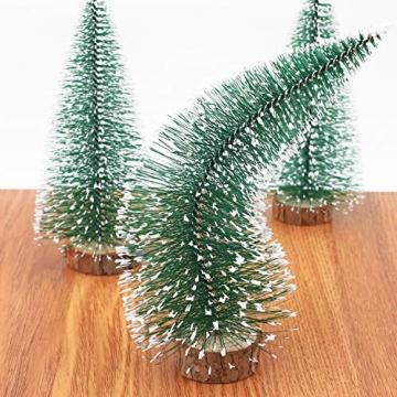 Herefun Mini Weihnachtsbaum Künstlicher, 9 Stück Mini Tannenbaum Künstlich mit Schnee-Effek, Weihnachtsdeko Weihnachten Tischdeko DIY Grün Klein Mini Christbaum 10/15 /20 cm - 4