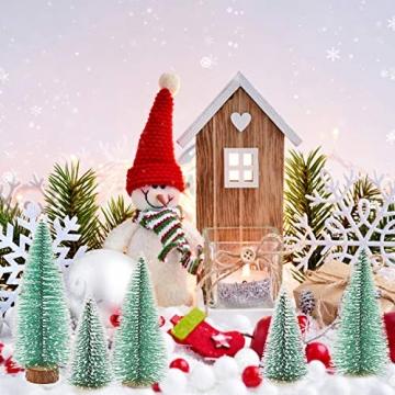 Herefun Mini Weihnachtsbaum Künstlicher, 9 Stück Mini Tannenbaum Künstlich mit Schnee-Effek, Weihnachtsdeko Weihnachten Tischdeko DIY Grün Klein Mini Christbaum 10/15 /20 cm - 6
