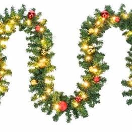 HI Tannengirlande aussen 5m - Grüne Girlande mit Lichterkette (80x LED), 5 Meter Girlande mit Licht und Kugeln als Weihnachtsdeko aussen - 1