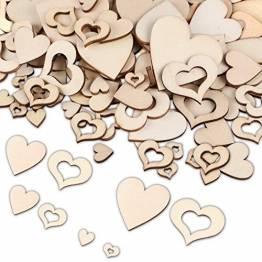 Holzherzen, 400 Stück Herz Holz Scheiben Holzscheiben Deko zum Basteln, Verschiedene Größen Holzherz Dekoration Streu Deko Tischdeko Verzierungen für DIY Handwerk Hochzeit Weihnachten - 1