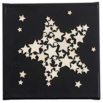 Holzsterne zum Basteln und Dekorieren | 5 verschiedene Größen | Sterne aus Holz | 1 cm bis 3 cm | naturfarben | 250 Stück | Ideal als Weihnachts-Deko, Tischdeko, Streudeko - 7