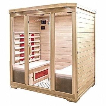 Home Deluxe – Infrarotkabine Bali XL – Keramikstrahler, Holz: Hemlocktanne, Maße: 175 x 120 x 190 cm   Infrarotsauna für 4 Personen, Sauna, Infrarot, Kabine - 2