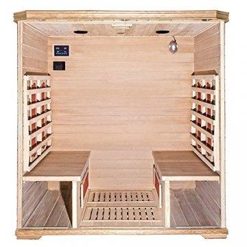Home Deluxe – Infrarotkabine Bali XL – Keramikstrahler, Holz: Hemlocktanne, Maße: 175 x 120 x 190 cm   Infrarotsauna für 4 Personen, Sauna, Infrarot, Kabine - 3