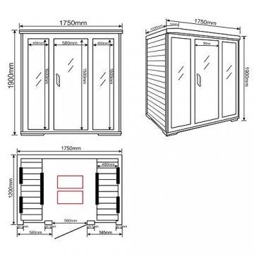Home Deluxe – Infrarotkabine Bali XL – Keramikstrahler, Holz: Hemlocktanne, Maße: 175 x 120 x 190 cm   Infrarotsauna für 4 Personen, Sauna, Infrarot, Kabine - 7