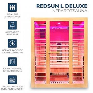 Home Deluxe – Infrarotkabine Redsun L Deluxe - Vollspektrumstrahler und Karbon-Flächenstrahler, Holz: Hemlocktanne, Maße: 153 x 110 x 190 cm | Infrarotsauna für 2-3 Personen, Infrarot, Kabine - 2