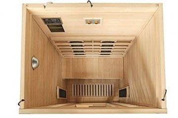 Home Deluxe – Infrarotkabine – Redsun M Deluxe – Vollspektrumstrahler und Karbon-Flächenstrahler – Holz: Hemlocktanne - Maße: 120 x 105 x 190 cm – inkl. vielen Extras und komplettem Zubehör - 4