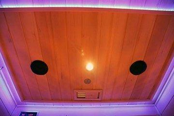 Home Deluxe – Infrarotkabine – Redsun M Deluxe – Vollspektrumstrahler und Karbon-Flächenstrahler – Holz: Hemlocktanne - Maße: 120 x 105 x 190 cm – inkl. vielen Extras und komplettem Zubehör - 9