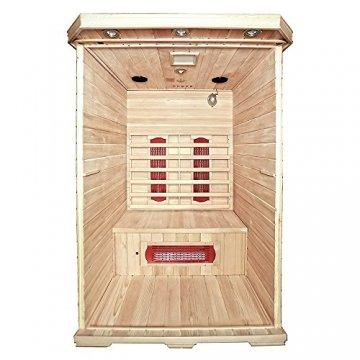 Home Deluxe – Infrarotkabine Redsun M - Keramikstrahler, Hemlocktanne, Maße: 120 x 105 x 190 cm | Infrarotsauna für 2 Personen, Sauna, Infrarot, Kabine - 4