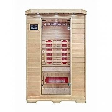 Home Deluxe – Infrarotkabine Redsun M - Keramikstrahler, Hemlocktanne, Maße: 120 x 105 x 190 cm | Infrarotsauna für 2 Personen, Sauna, Infrarot, Kabine - 1