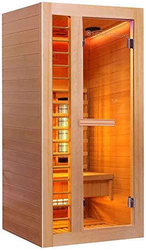 Home Deluxe – Infrarotkabine Redsun S Deluxe – Vollspektrumstrahler und Karbon-Flächenstrahler, Holz: Hemlocktanne, Maße: 90 x 90 x 190 cm | Infrarotsauna für 1 Person, Infrarot, Kabine - 2