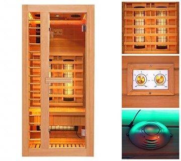 Home Deluxe – Infrarotkabine Redsun S Deluxe – Vollspektrumstrahler und Karbon-Flächenstrahler, Holz: Hemlocktanne, Maße: 90 x 90 x 190 cm | Infrarotsauna für 1 Person, Infrarot, Kabine - 4