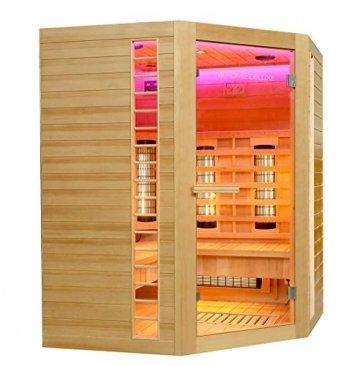 Home Deluxe – Infrarotkabine – Redsun XXL Deluxe - Vollspektrumstrahler und Karbon-Flächenstrahler – Holz: Hemlocktanne - Maße: 150 x 150 x 190 cm – inkl. komplettem Zubehör - 2