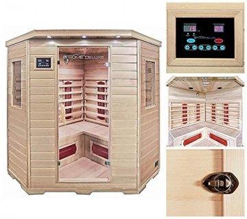 Home Deluxe – Infrarotkabine Redsun XXL – Keramikstrahler, Holz: Hemlocktanne, Maße: 150 x 150 x 190 cm   Infrarotsauna für 3-4 Personen, Sauna, Infrarot, Kabine - 2