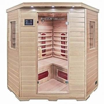 Home Deluxe – Infrarotkabine Redsun XXL – Keramikstrahler, Holz: Hemlocktanne, Maße: 150 x 150 x 190 cm   Infrarotsauna für 3-4 Personen, Sauna, Infrarot, Kabine - 1