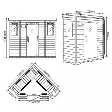 Home Deluxe – Infrarotkabine Redsun XXL – Keramikstrahler, Holz: Hemlocktanne, Maße: 150 x 150 x 190 cm   Infrarotsauna für 3-4 Personen, Sauna, Infrarot, Kabine - 7