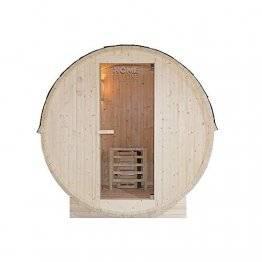 Home Deluxe - Outdoor Fasssauna 4 Personen - Lahti L mit Elektroofen - Holz: Fichtenholz - Maße: BxTxH: ca. 194,8cm x 191,7cm x 180cm - inkl. komplettem Zubehör | Gartensauna, Außensauna, Sauna - 1
