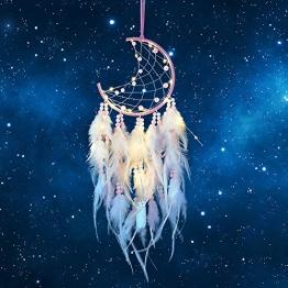 Hongyans Traumfänger mit LED Licht Handgefertigt Dreamcatcher mit Federn Böhmen Dekoration für Schlafzimmer Hochzeit Wandbehang Ornament Mädchen Kinder Geschenk (Rosa) - 1