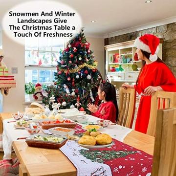 Huahao Weihnachtstischläufer 1 Stück Festliche Weihnachtstischdekoration Tischdecke Weihnachtstischdekoration, Weihnachtstischdekoration (178 x 34 cm) - 2