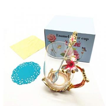 HUISHENG Emaille Teetasse,Schmetterling Blume Becher,Glas Tassen mit Löffel,Personalisierte Geschenke für Frauen Mama Oma Mädchen Mutter Freundin,Weihnachtsgeschenke Muttertag Geburtstag (Gelb) - 4