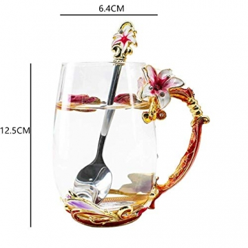 HUISHENG Emaille Teetasse,Schmetterling Blume Becher,Glas Tassen mit Löffel,Personalisierte Geschenke für Frauen Mama Oma Mädchen Mutter Freundin,Weihnachtsgeschenke Muttertag Geburtstag (Gelb) - 5