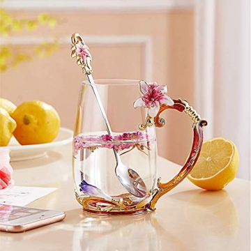 HUISHENG Emaille Teetasse,Schmetterling Blume Becher,Glas Tassen mit Löffel,Personalisierte Geschenke für Frauen Mama Oma Mädchen Mutter Freundin,Weihnachtsgeschenke Muttertag Geburtstag (Gelb) - 6