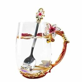 HUISHENG Emaille Teetasse,Schmetterling Blume Becher,Glas Tassen mit Löffel,Personalisierte Geschenke für Frauen Mama Oma Mädchen Mutter Freundin,Weihnachtsgeschenke Muttertag Geburtstag (Gelb) - 1