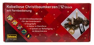 Idena 31852 - Weihnachtsbaumkerzen Set mit 12 kabellosen LED Christbaumkerzen zum Anklemmen, 6 Saugnäpfen, 6 Halter in Sternform und 4 Spitzen, batteriebetrieben, mit Fernbedienung - 2