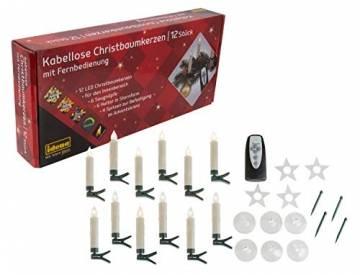 Idena 31852 - Weihnachtsbaumkerzen Set mit 12 kabellosen LED Christbaumkerzen zum Anklemmen, 6 Saugnäpfen, 6 Halter in Sternform und 4 Spitzen, batteriebetrieben, mit Fernbedienung - 1
