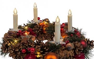 Idena 31852 - Weihnachtsbaumkerzen Set mit 12 kabellosen LED Christbaumkerzen zum Anklemmen, 6 Saugnäpfen, 6 Halter in Sternform und 4 Spitzen, batteriebetrieben, mit Fernbedienung - 7