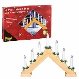 Idena 8582068 - Adventsleuchter aus naturfarbenem Holz mit 7 warmweißen Kerzenlichtern, mit Ersatzlampe, Anschlusskabel mit Schalter, ca. 40 x 30 cm groß, Dekoration für Weihnachten, Advent - 1