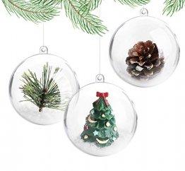 ilauke 20 Stück Christbaumkugeln Weihnachtskugeln Acrylkugeln Transparent Set mit Federn- Perlenfaden- Schneeflocken für Saisonal Deko, Hochzeit, Bemahlung, Weihnachtsbaumschmuck, Party (80mm) - 1