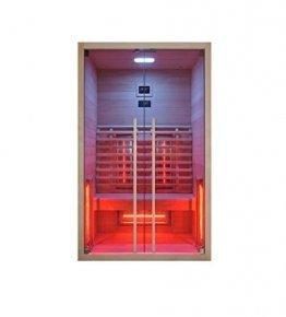 Infrarotkabine 120 x 100 x 195 cm für 2 Personen aus Hemlock Holz | Infrarotkabine mit ergonomischer Rückenlehne | Infrarotsauna mit Farblichttherapie | Wärmekabine mit 2 Zonensteuerung - 1