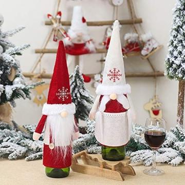 Isincer Weinflaschenüberzug für Weihnachten, Weinflaschen, Mantel, Pullover, Urlaubsflaschen, Kleid für Weihnachten, Party, Dekoration, klassische Weihnachtstischdekoration, Weihnachten - 3