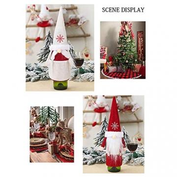 Isincer Weinflaschenüberzug für Weihnachten, Weinflaschen, Mantel, Pullover, Urlaubsflaschen, Kleid für Weihnachten, Party, Dekoration, klassische Weihnachtstischdekoration, Weihnachten - 5