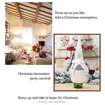 Isincer Weinflaschenüberzug für Weihnachten, Weinflaschen, Mantel, Pullover, Urlaubsflaschen, Kleid für Weihnachten, Party, Dekoration, klassische Weihnachtstischdekoration, Weihnachten - 6