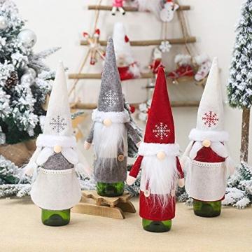 Isincer Weinflaschenüberzug für Weihnachten, Weinflaschen, Mantel, Pullover, Urlaubsflaschen, Kleid für Weihnachten, Party, Dekoration, klassische Weihnachtstischdekoration, Weihnachten - 7