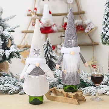 Isincer Weinflaschenüberzug für Weihnachten, Weinflaschen, Mantel, Pullover, Urlaubsflaschen, Kleid für Weihnachten, Party, Dekoration, klassische Weihnachtstischdekoration, Weihnachten - 8