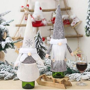 Isincer Weinflaschenüberzug für Weihnachten, Weinflaschen, Mantel, Pullover, Urlaubsflaschen, Kleid für Weihnachten, Party, Dekoration, klassische Weihnachtstischdekoration, Weihnachten - 9