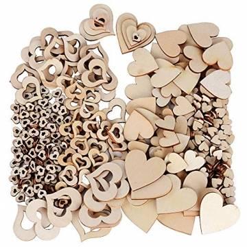 JNCH 400 STK / 4 Größen Holzscheiben Deko zum Basteln Holz Scheiben Herz klein Holzherz Dekoration Streudeko Tischdeko Verzierungen für DIY Handwerk Hochzeit Weihnachten Geburtstag Taufe Herzen - 1