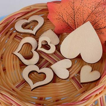 JNCH 400 STK / 4 Größen Holzscheiben Deko zum Basteln Holz Scheiben Herz klein Holzherz Dekoration Streudeko Tischdeko Verzierungen für DIY Handwerk Hochzeit Weihnachten Geburtstag Taufe Herzen - 5