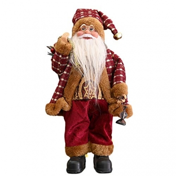 JOAN Weihnachtsmann-Figur, stehend, hohe Details, lebensechte Weihnachtsmannpuppe, Heimdekoration, 30 cm - 3