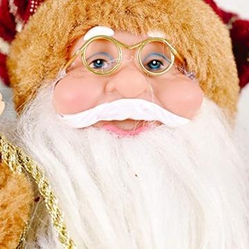 JOAN Weihnachtsmann-Figur, stehend, hohe Details, lebensechte Weihnachtsmannpuppe, Heimdekoration, 30 cm - 4
