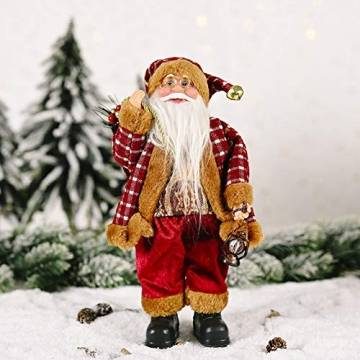 JOAN Weihnachtsmann-Figur, stehend, hohe Details, lebensechte Weihnachtsmannpuppe, Heimdekoration, 30 cm - 1