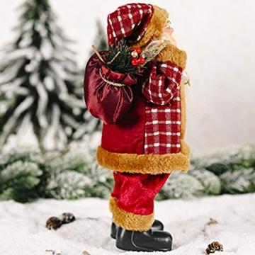 JOAN Weihnachtsmann-Figur, stehend, hohe Details, lebensechte Weihnachtsmannpuppe, Heimdekoration, 30 cm - 5