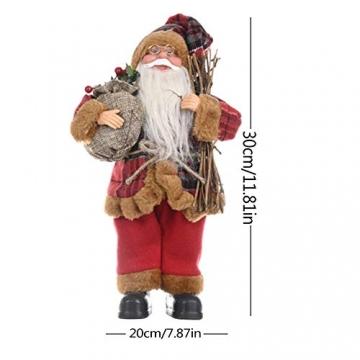 JOAN Weihnachtsmann-Figur, stehend, hohe Details, lebensechte Weihnachtsmannpuppe, Heimdekoration, 30 cm - 7