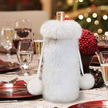 Joycart Joycart 4PCS / LOT Weihnachtschampagnerflasche setzt neue Weihnachtstischdekoration aus roten Weinflasche Taschen gestopft Weissweinflasche Taschen (Color : White, Size : 9x9x32cm) - 1